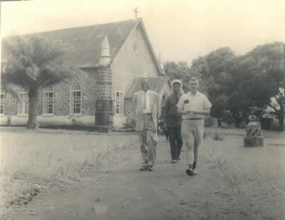 Nathaniel Baker, Charlie Harvey, and Bolling Robertson on St. John's Campus ca. 1944