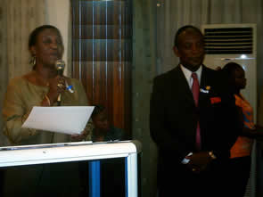 Presenter Mrs. Ettie David-Tarpeh, Minister of Labor, Youth & Spirits and honoree Dr. Eugene Musa H. Shannon